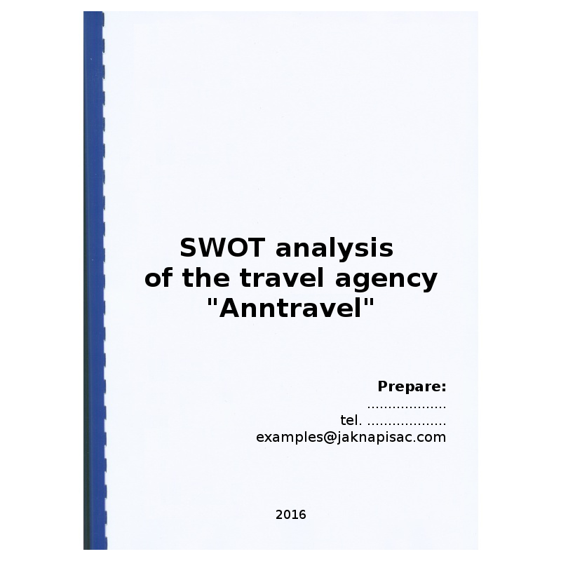 """SWOT analysis of the travel agency """"Anntravel"""""""