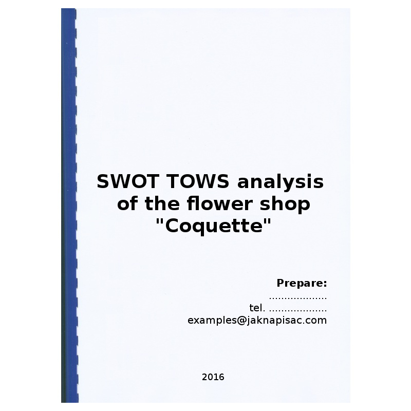 """SWOT TOWS analysis of the flower shop """"Coquette"""""""